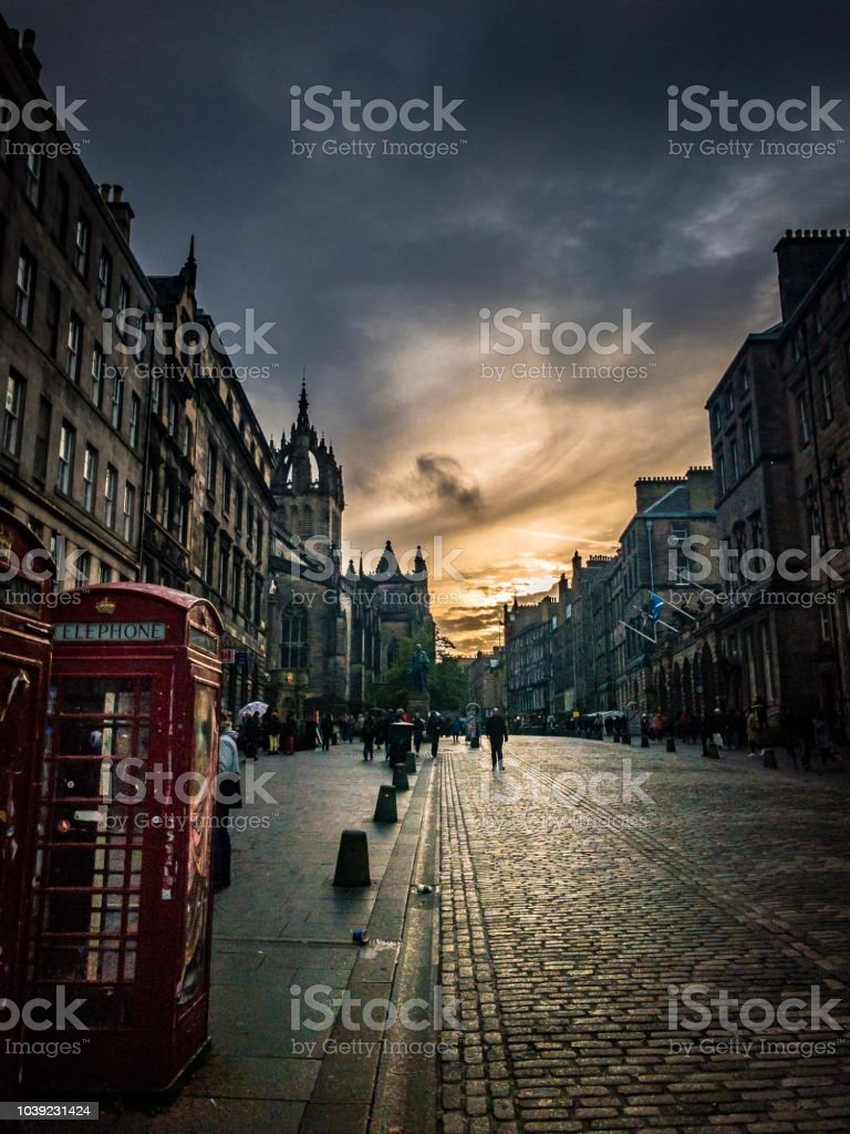 Royal Mile, Edinburgh at sunset stock photo