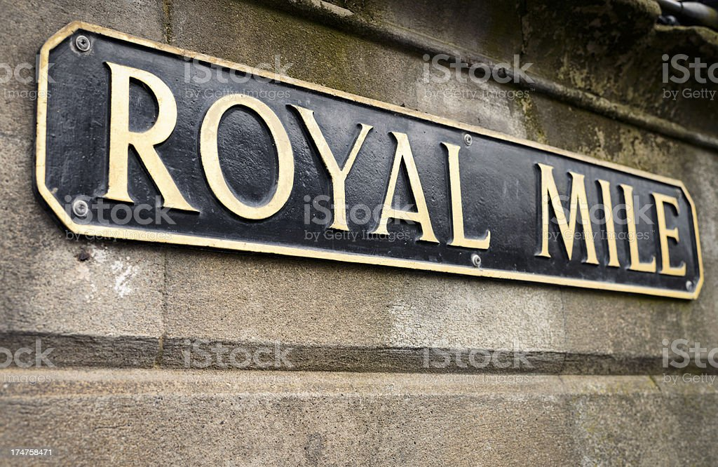 Royal Mile Sign in Edinburgh royalty-free stock photo