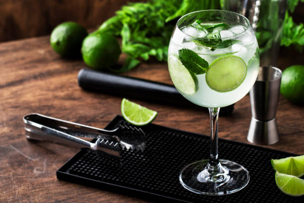 Royal mojito, alcoholic cocktail with white rum, prosecco, lime, mint and ice in wine glass with bar tools Royal mojito, alcoholic cocktail with white rum, prosecco, lime, mint and ice in wine glass with bar tools tonic water stock pictures, royalty-free photos & images