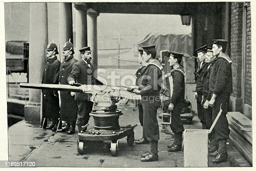 Vintage photograph of Quick firing gun drill at the Sheerness gunnery school, 19th Century