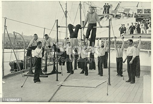 Vintage photograph of Royal navy gymnastics team, HMS Howe, 19th Century