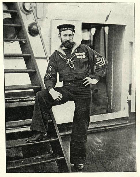 Royal Navy sailor, Petty officer HMS Blake, 1890s, 19th Century stock photo