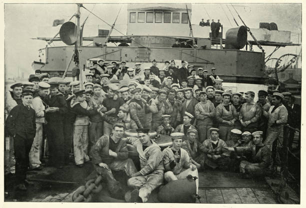 Royal navy sailors, HMS Majestic, 19th Century stock photo