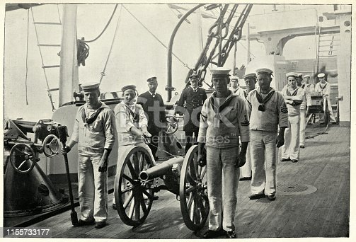 Vintage photograph of Light gun drill on HMS Camperdown, 1895. HMS Camperdown was an Admiral-class battleship of the Royal Navy