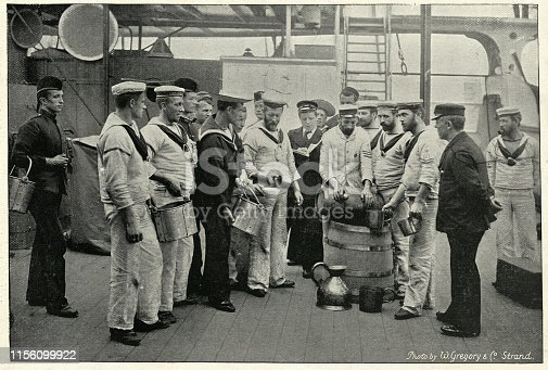 Vintage photograph of Royal navy sailors receving a ration of Grog on board HMS Royal Sovereign, 19th Century