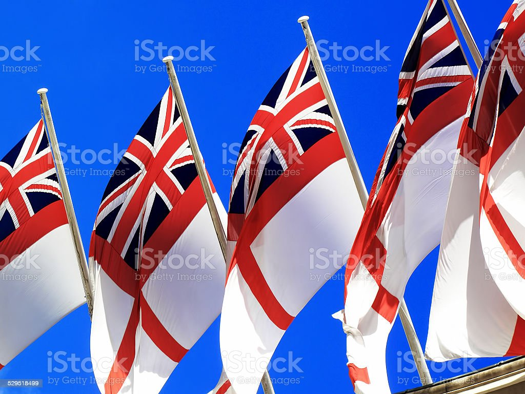 Royal Navy, White Ensign stock photo
