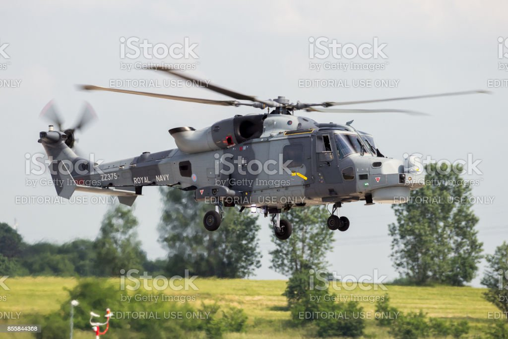 Royal Navy Wildcat helicopter stock photo