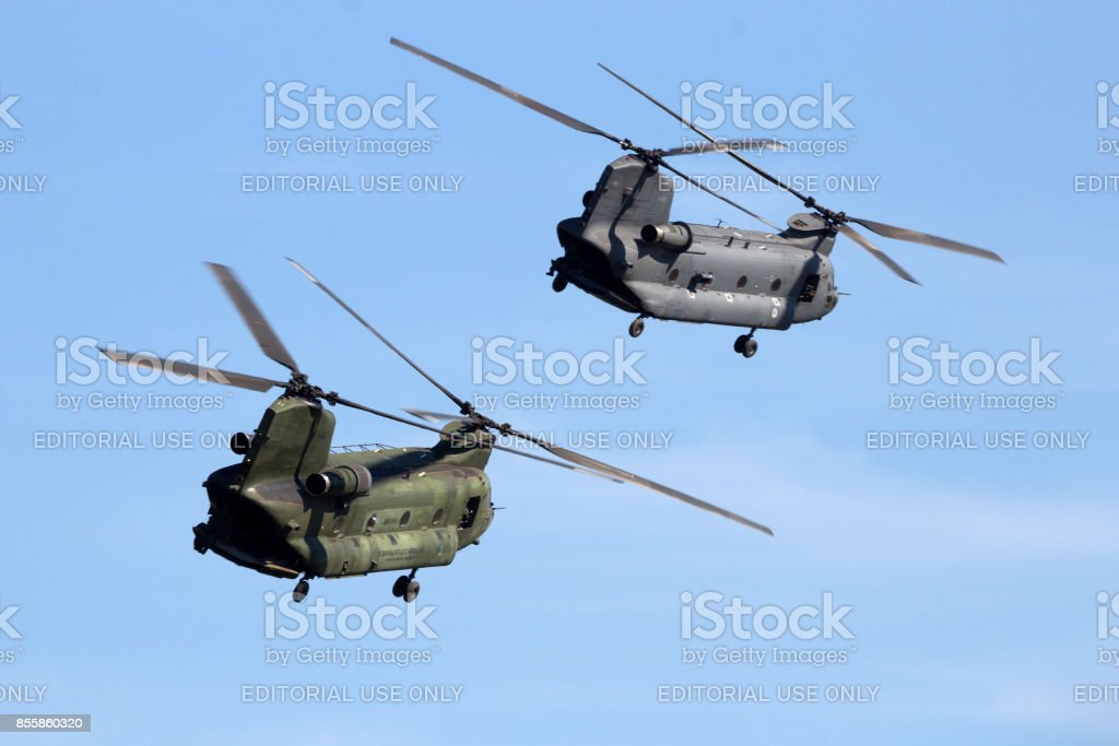 Royal Netherlands Air Force CH-47 Chinook helicopters stock photo