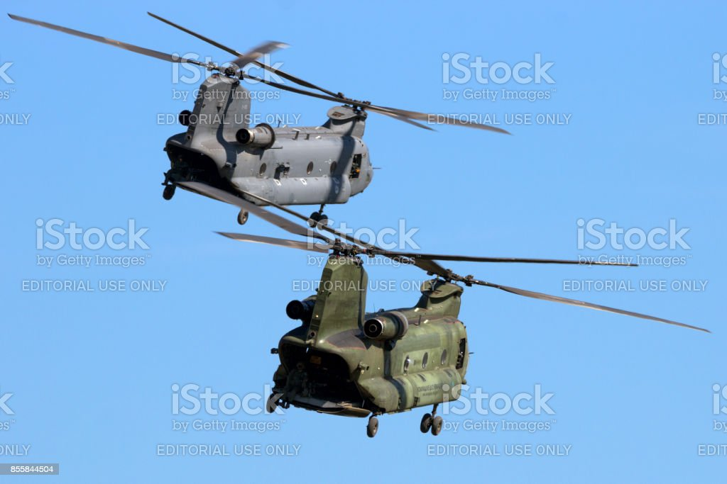 Royal Netherlands Air Force CH-47 Chinook transport helicopters stock photo