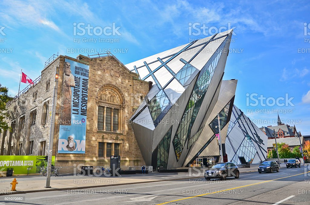 Royal Ontario Museum in a sunny day in Toronto stock photo