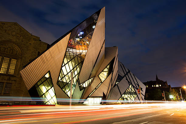 Royal Ontario Museum, Toronto Toronto, Canada - August 27, 2015: The Royal Ontario Museum at night. The controversial facade of the ROM was designed by architect Daniel Libeskind. royalty stock pictures, royalty-free photos & images