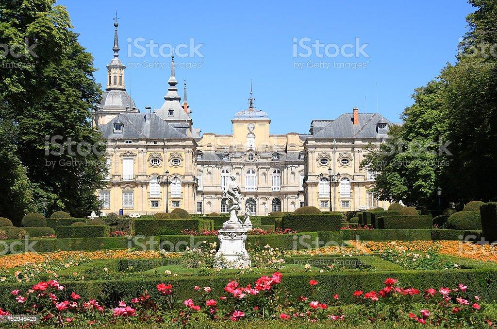 Royal Palace and gardens of La Granja de San Ildefonso stock photo