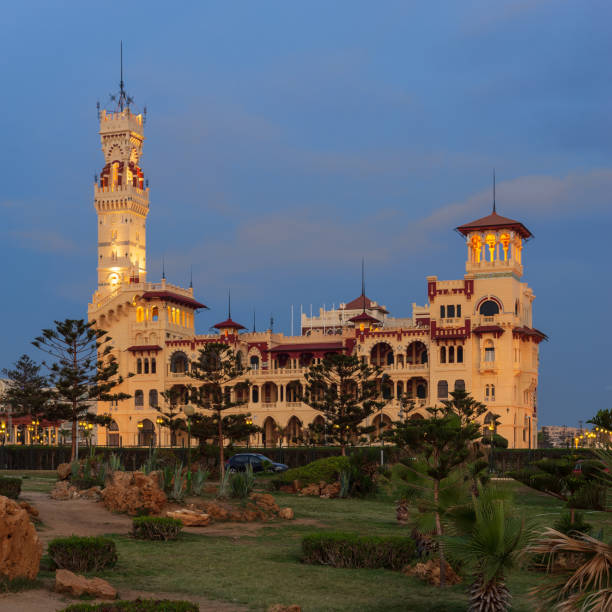 Royal palace at Montaza public park after sunset, Alexandria, Egypt stock photo