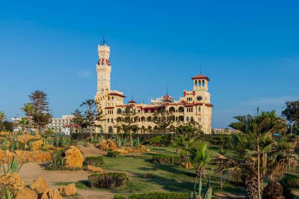 Royal palace at Montaza public park, Alexandria, Egypt stock photo