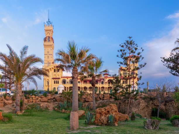 Royal palace at Montaza public park before sunset, Alexandria, Egypt stock photo