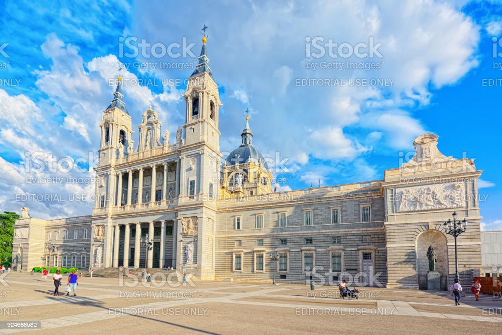 Royal Palace in Madrid (Palacio Real de Madrid) and Armory Square in the evening time. stock photo