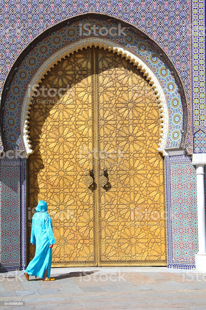 Royal Palace main doors Fez, Morocco stock photo