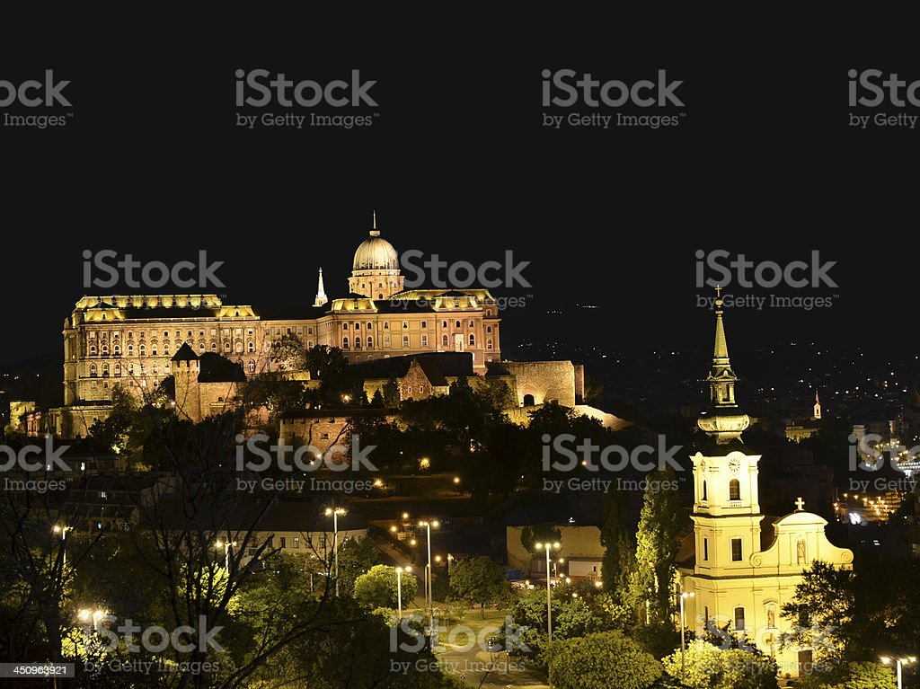 Royal Palace of Buda at night in Budapest, Hungary royalty-free stock photo