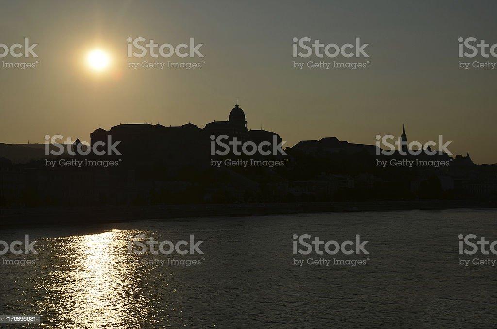Royal Palace of Buda at sunset, Budapest, Hungary royalty-free stock photo