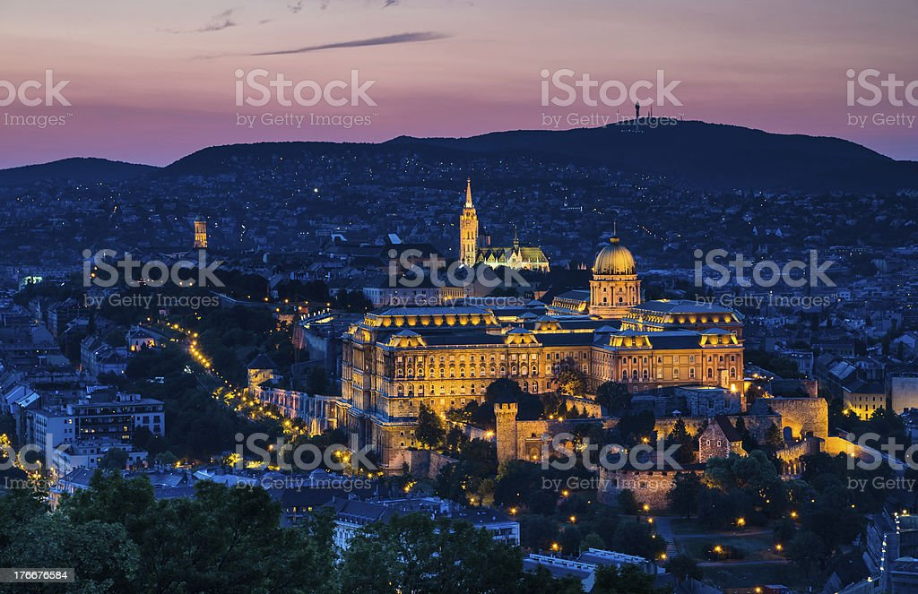 Royal Palace of Buda in night, Budapest stock photo