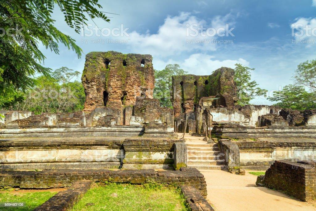 Royal Palace of King Parakramabahu in the world heritage city Polonnaruwa, Sri Lanka. stock photo