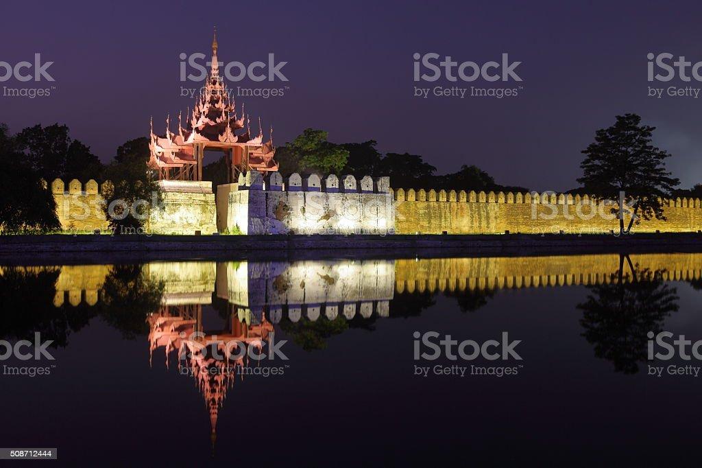 Royal Palace of Mandalay at night stock photo