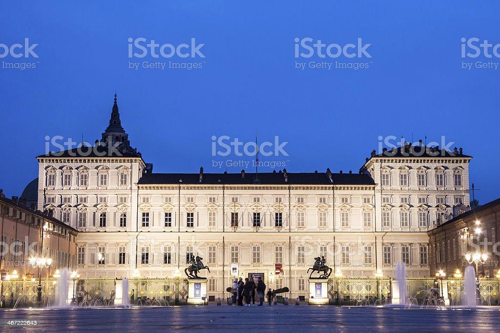 Königspalast in Turin oder Palazzo Reale - Lizenzfrei Abenddämmerung Stock-Foto