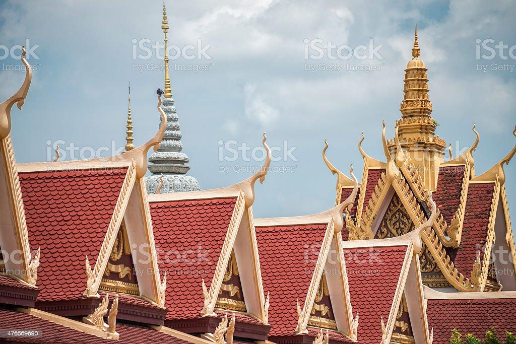 Royal Palace Phnom Penh - Roof Tops stock photo