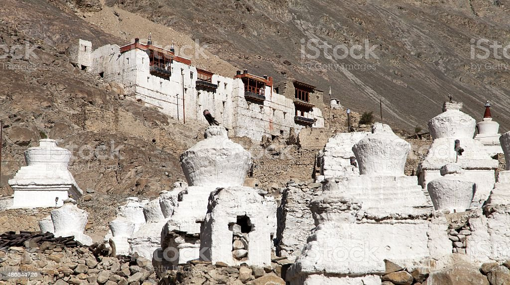 royal palace with white buddhist stupas in Tiger or Tiggur stock photo