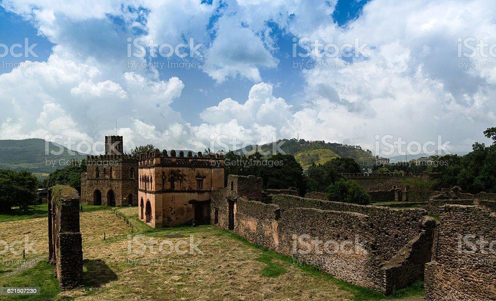 Royal palaces in Fasil Ghebbi site Gonder foto stock royalty-free