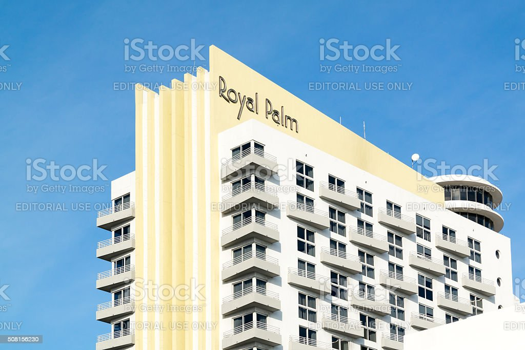Royal Palm building in Miami Beach, Florida stock photo
