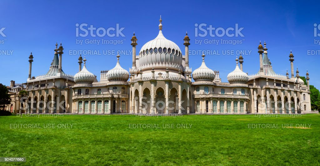 Royal Pavilion panorama Brighton East Sussex Southern England UK stock photo