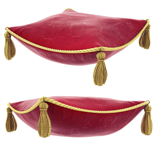 Royal red pillow with gold trim Pillow isolated on white cushion stock pictures, royalty-free photos & images