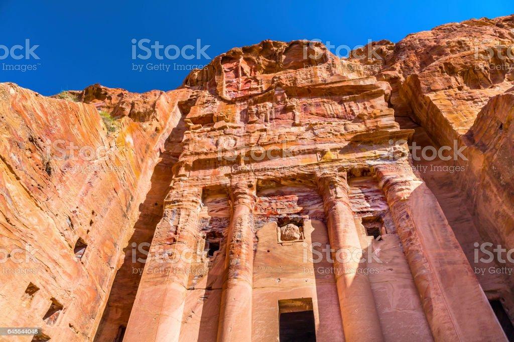 Royal Rock Tomb Arch Petra Jordan stock photo