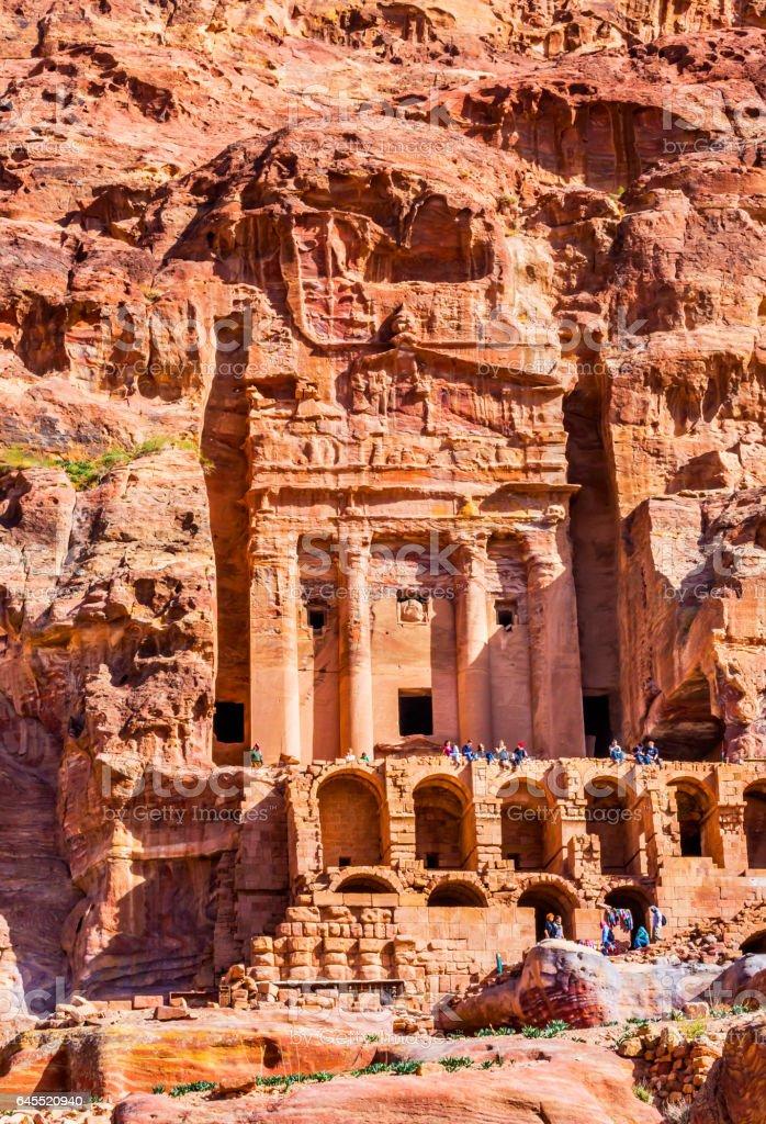 Royal Rock Tomb Tourists Petra Jordan stock photo