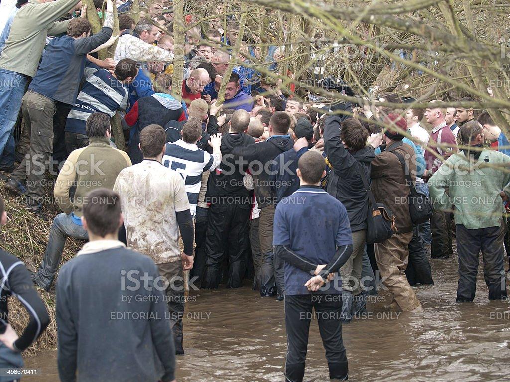 Royal Shrovetide Football – The Hug royalty-free stock photo