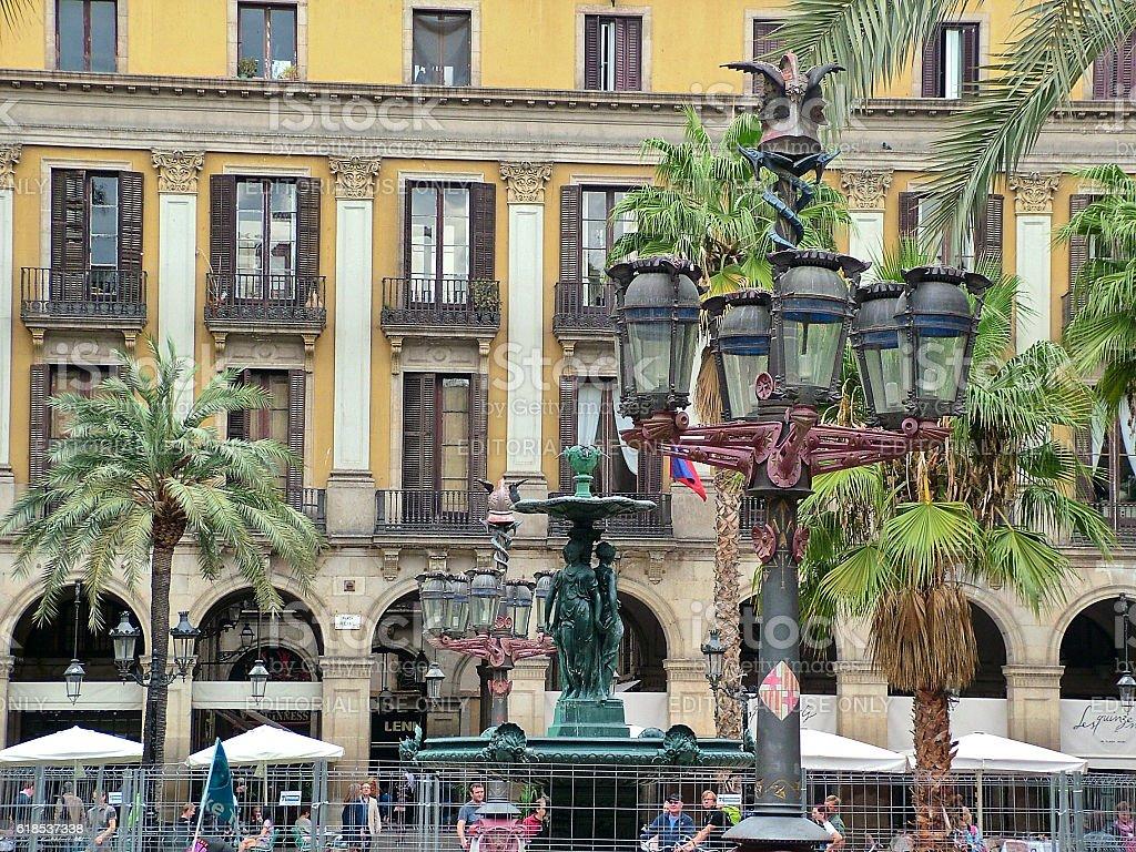 Royal Square(Plaza Real) in Barcelona stock photo