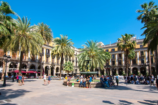 Royal square (Plaza Real) in Barcelona, Spain