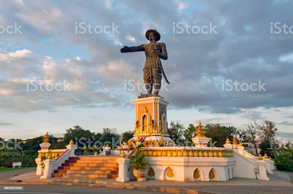 Royal statue of King Chao Anouvong (Xaiya Setthathirath V), Lao king from the last monarch of the Kingdom of Vientiane who succeeded to the throne in 1805, located at Chao Anouvong Park, Vientiane Capital, Laos stock photo