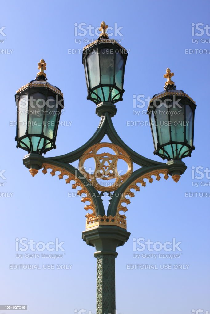 Royal street lamp in front of Buckingham Palace stock photo