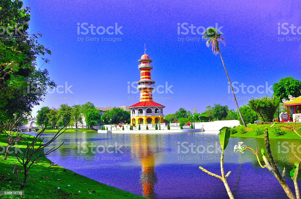 Royal summer residence Bang Pa In,beautiful view Thailand stock photo
