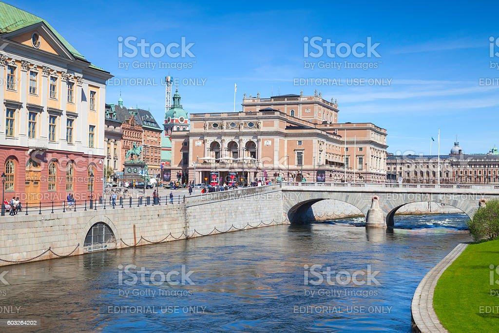 Royal Swedish Opera and Norrbro bridge stock photo
