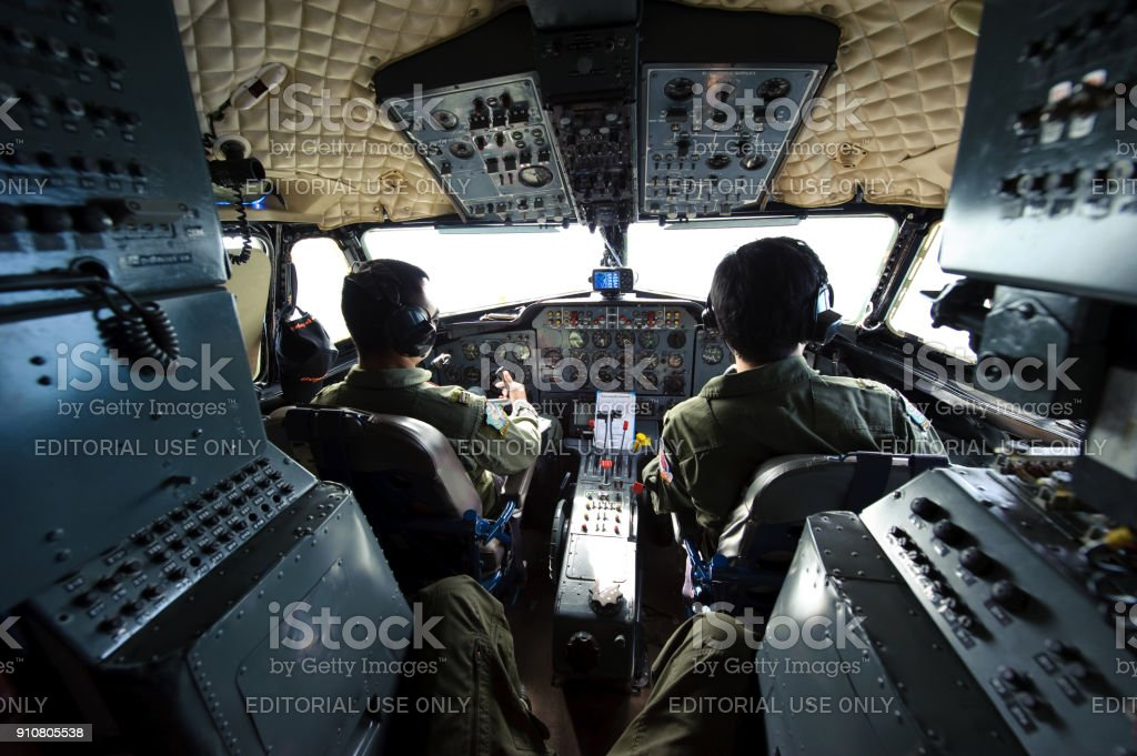 Royal Thai Air Force Hawker Siddeley HS748 cockpit in flight from Don Mueang Airport to Surat Thani International Airport stock photo