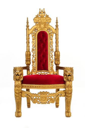 an elegant throne / with gold carvings and whatnot / includes clipping path