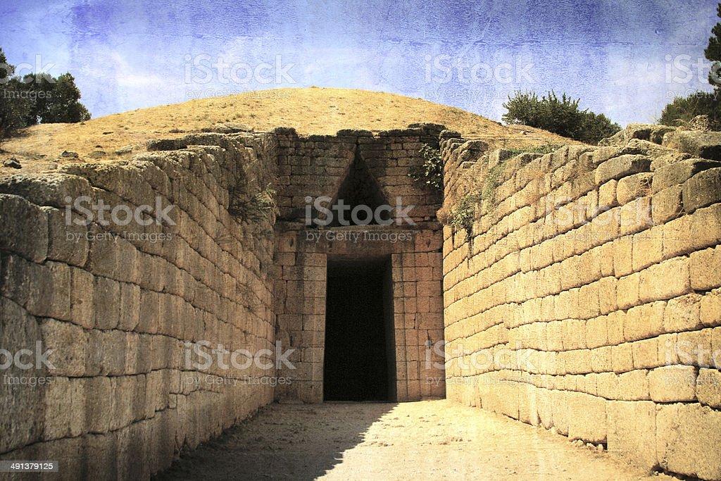 Royal tomb of Atreus, Mycenae,  Peloponnese, Greece stock photo