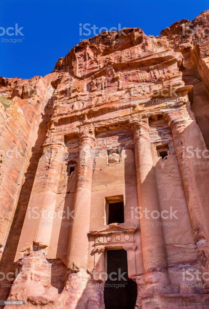 Royal Tomb Rock Arch Petra Jordan stock photo