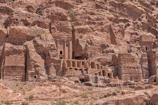 Royal Tombs, a series of large mausoleums with impressive facades in the Jabal al-Khubtha rock massif, majestically overlooking the center of Petra. Sightseeing of Jordan