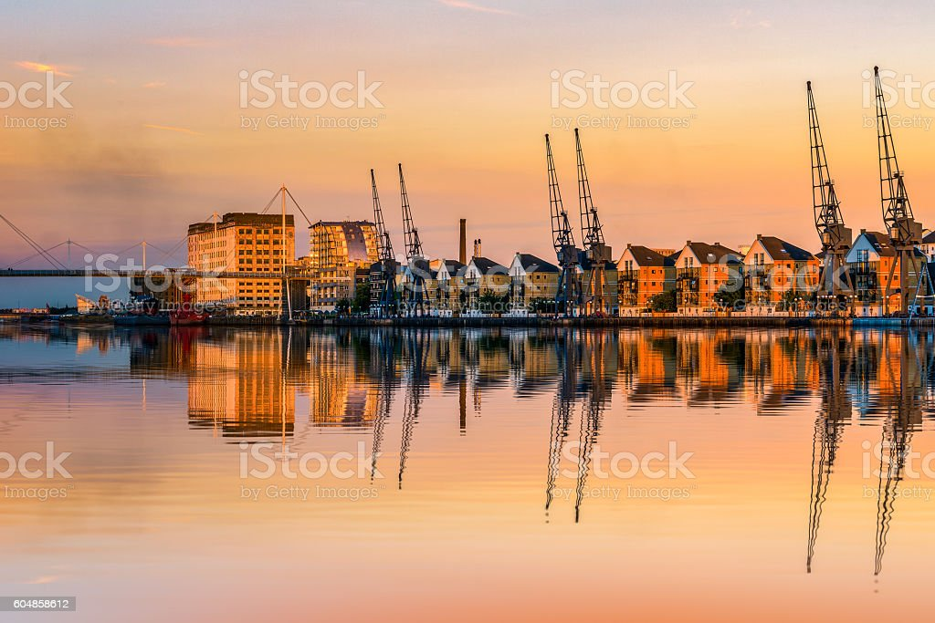 Royal Victoria Dock at Sunset stock photo