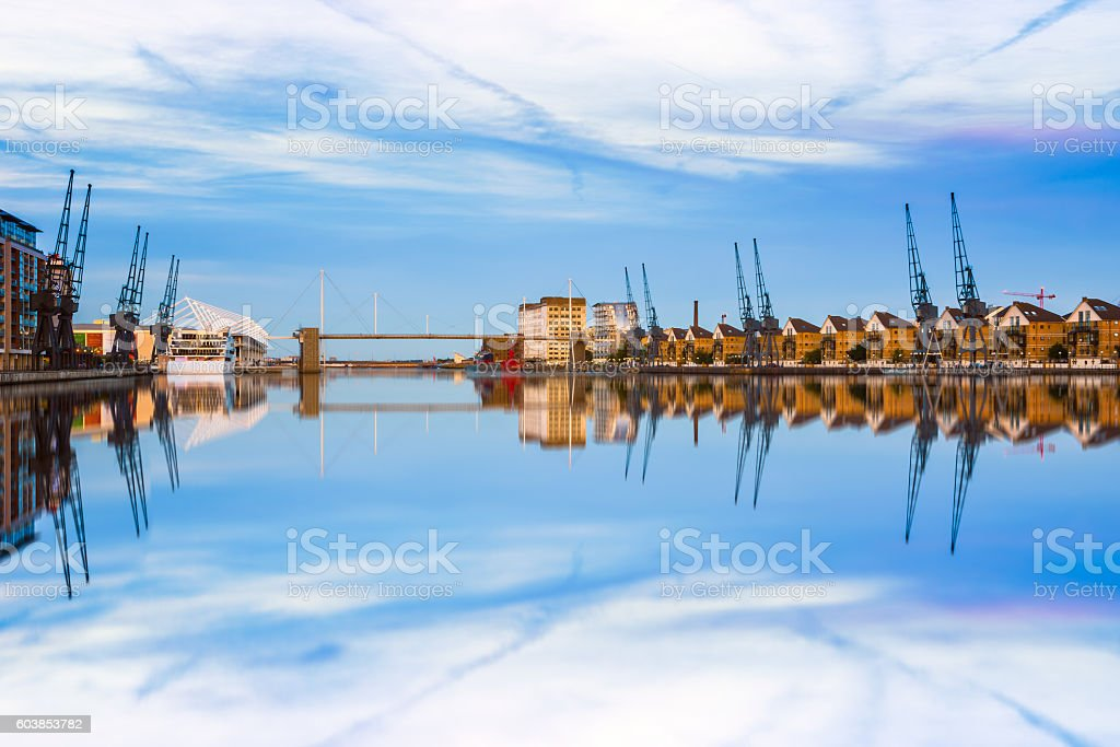 Royal Victoria Dock in East London stock photo