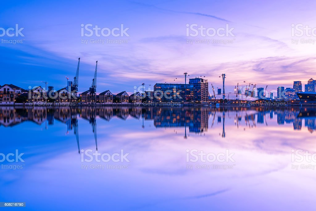 Royal Victoria Dock in London at Sunset stock photo